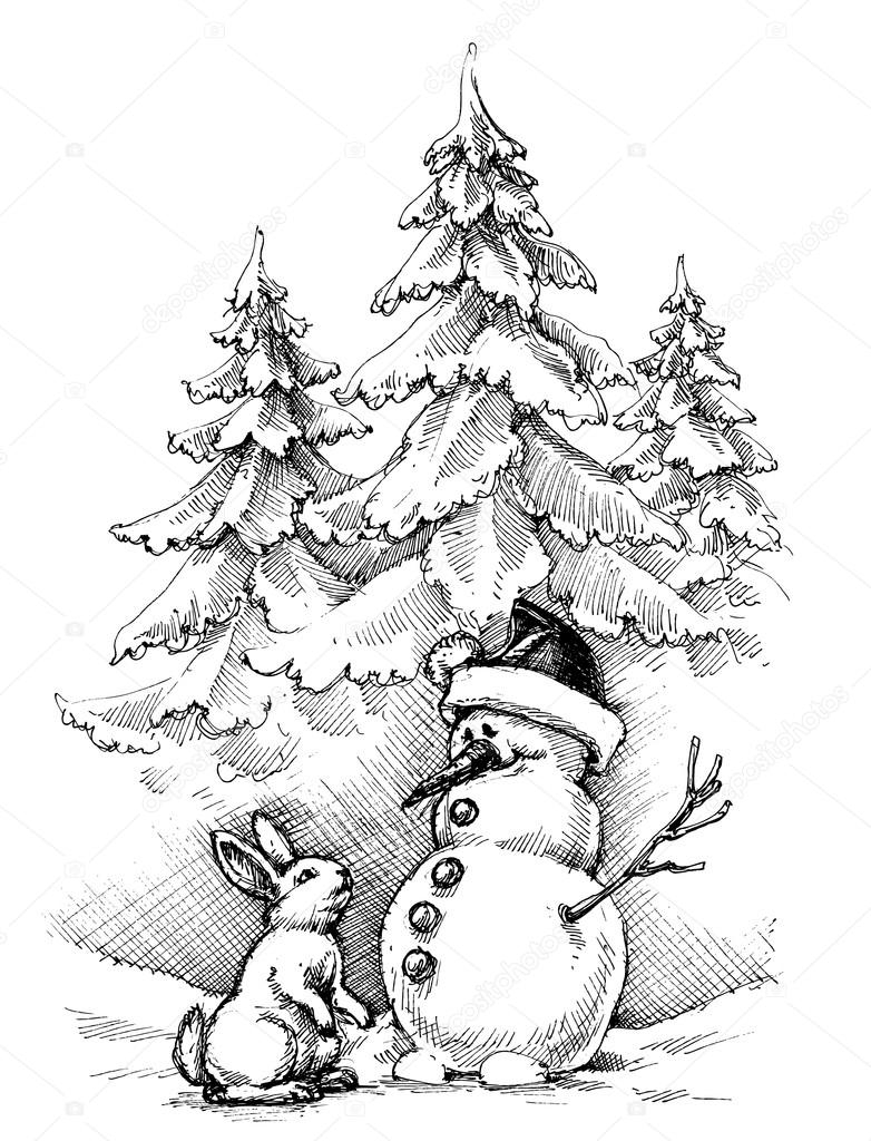 landscape coloring pages - stock illustration christmas funny scene winter landscape