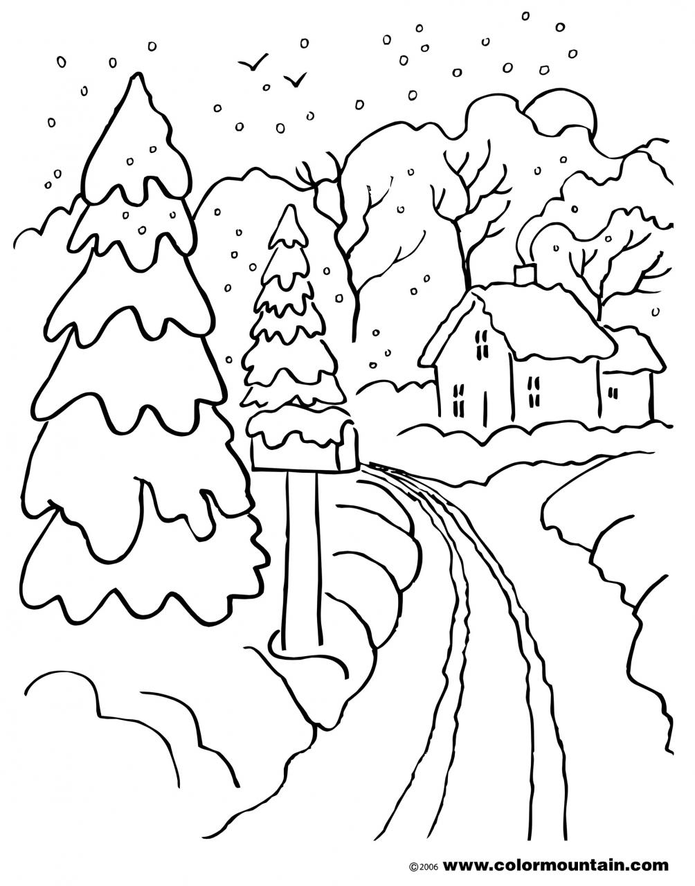 landscape coloring pages - coloring page of winter scene