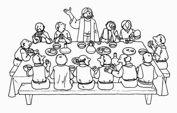 last supper coloring page - jesus last supper