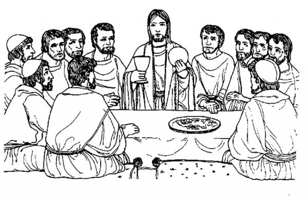 last supper coloring page - the last supper bible story coloring page