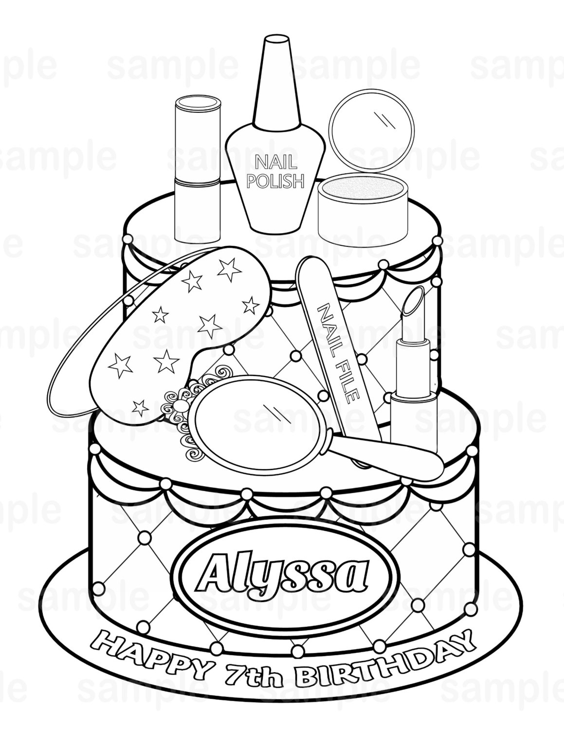 lds coloring pages - personalized printable spa party cake