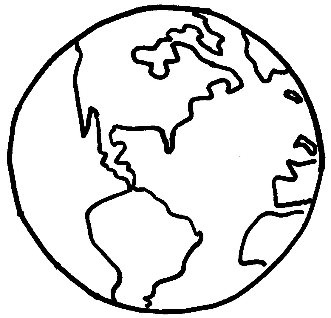 lds primary coloring pages - line drawing earth