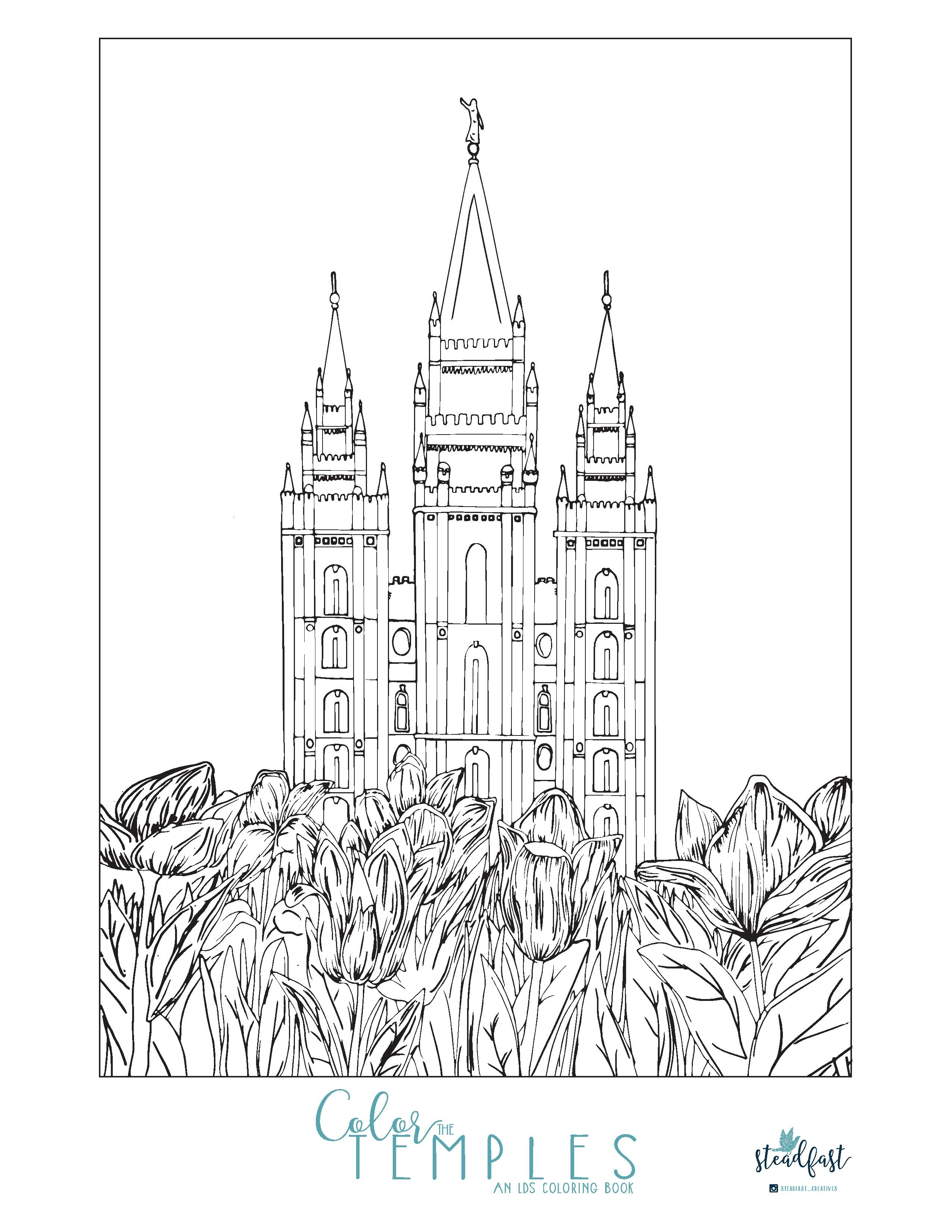 lds temple coloring pages - free temple illustration