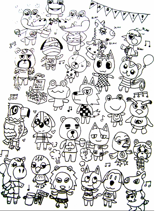 leaf coloring pages - Animal Crossing Series ics