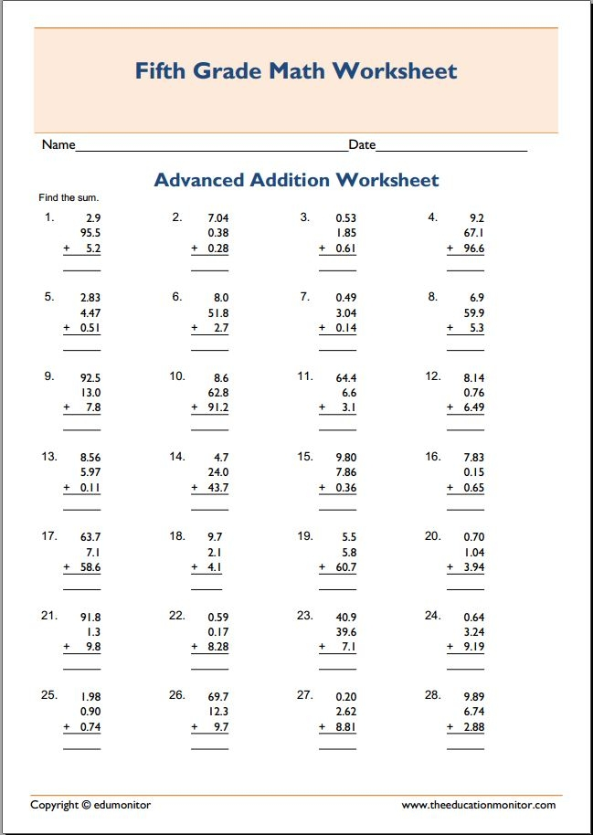 5th Grade Advanced Math Worksheets - Kidz Activities