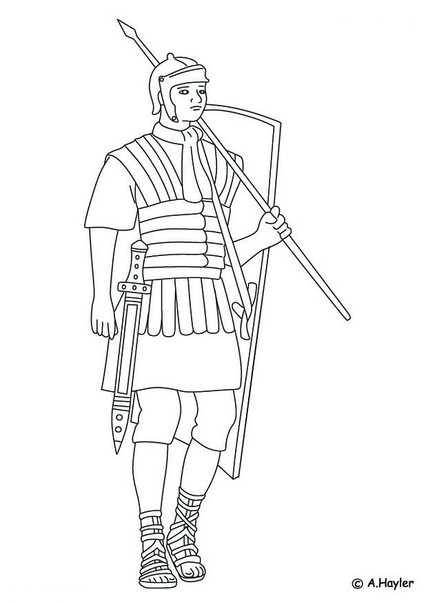 learning coloring pages - Romeinse soldaat