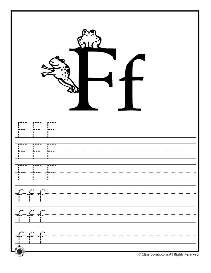 learning coloring pages - letter f practice