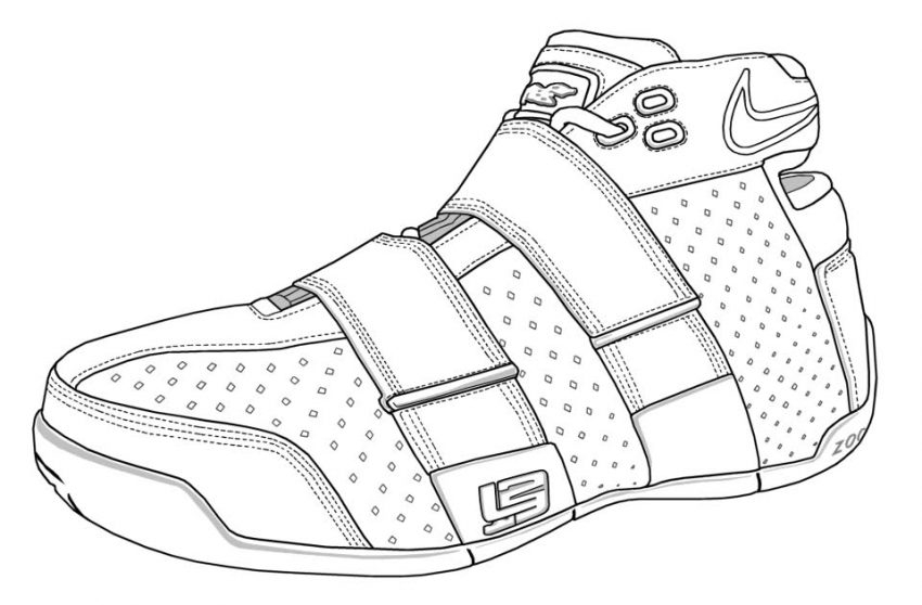 Lebron James Coloring Pages - Lebron Shoes Coloring Pages