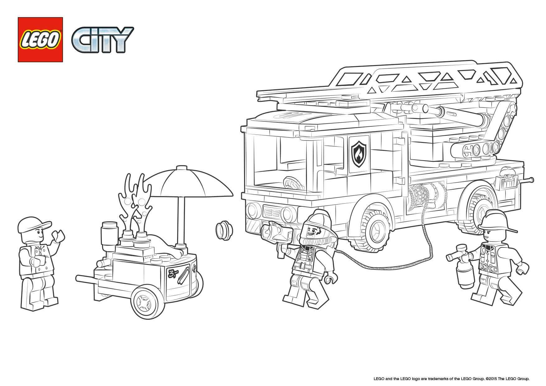 lego city coloring pages - colour in lego city fire truck