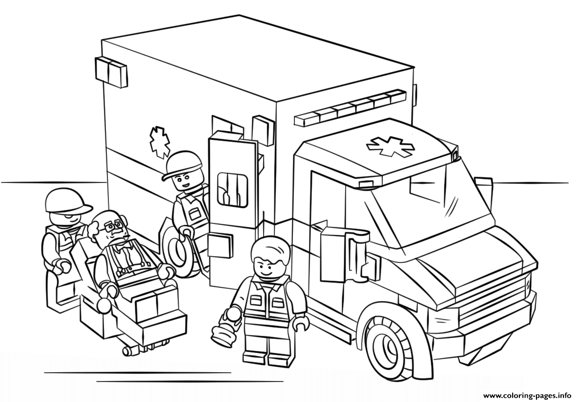 Lego City Coloring Pages - Lego Ambulance City Coloring Pages Printable