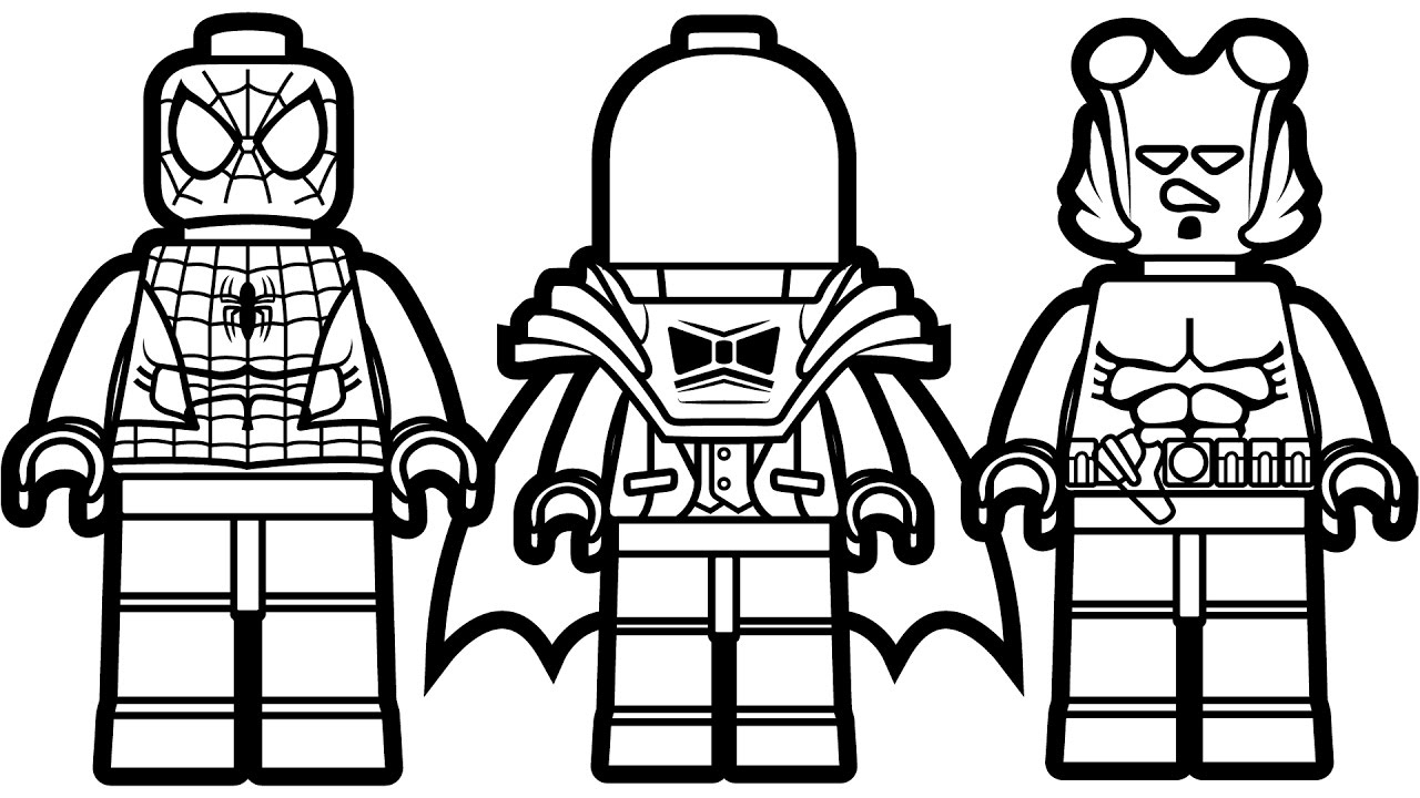 Lego Flash Coloring Pages - Lego Spiderman Vs Lego Red Hood Vs Lego Hellboy Coloring