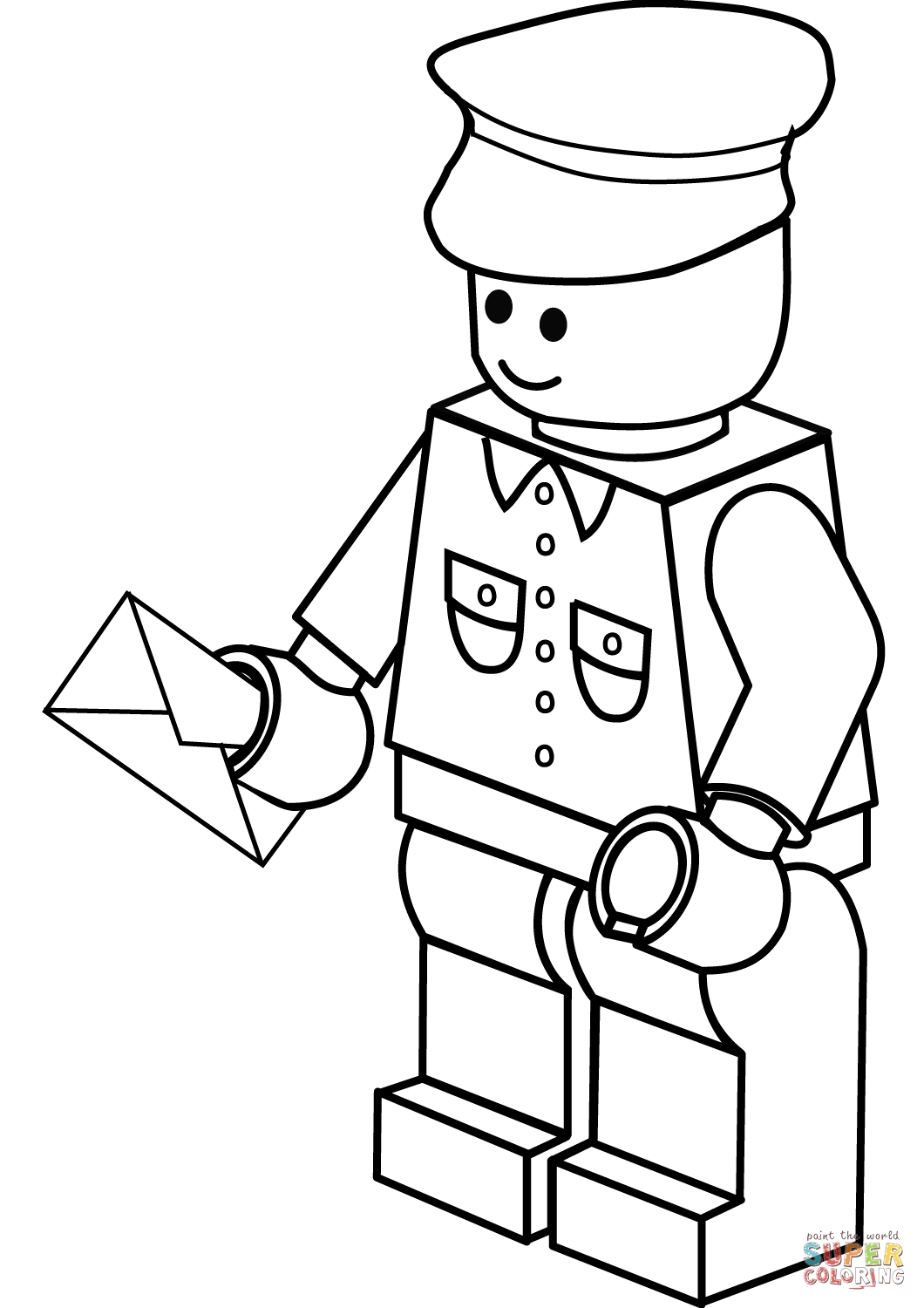 lego printable coloring pages - lego postman