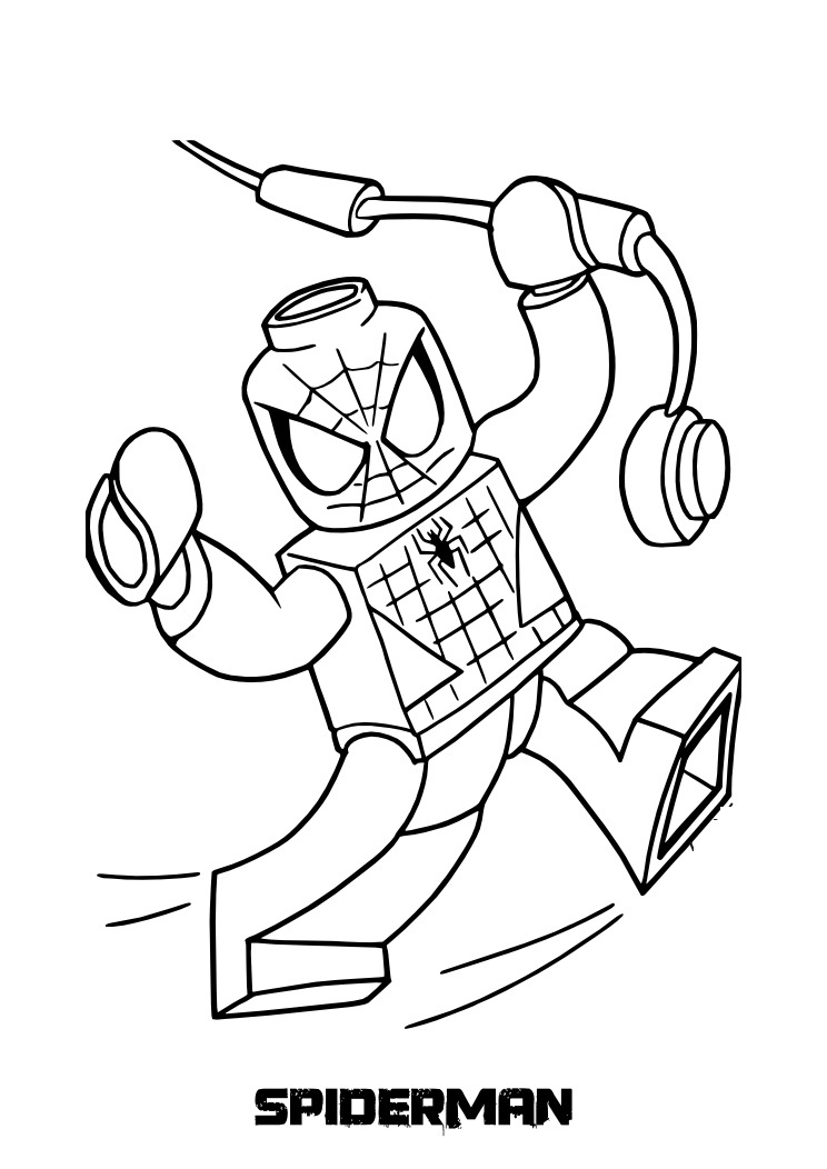 Lego Spiderman Coloring Pages - Incredible and Also Beautiful Lego Spiderman Coloring