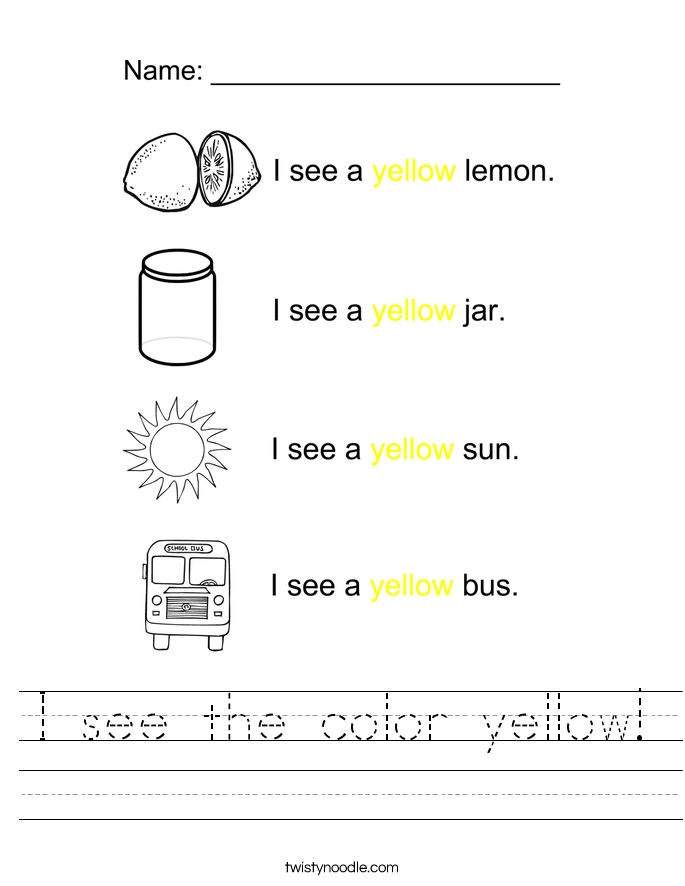 lemon coloring page - i see the color yellow 2 worksheet