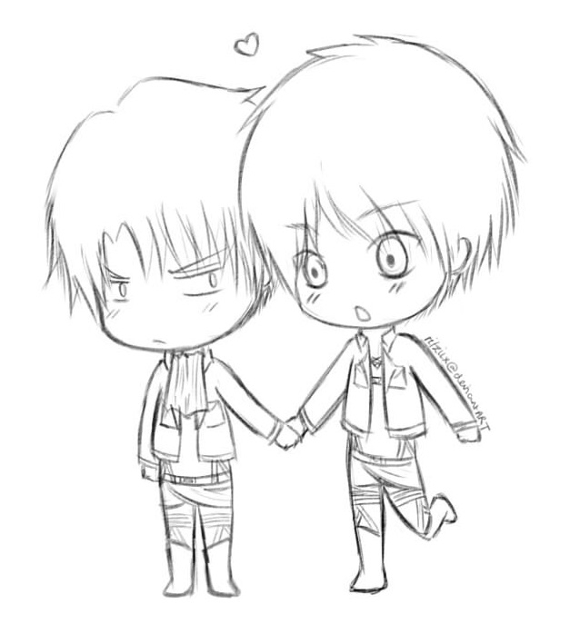 lemon coloring page - Shingeki no Kyojin Chibi Eren and Rivaille