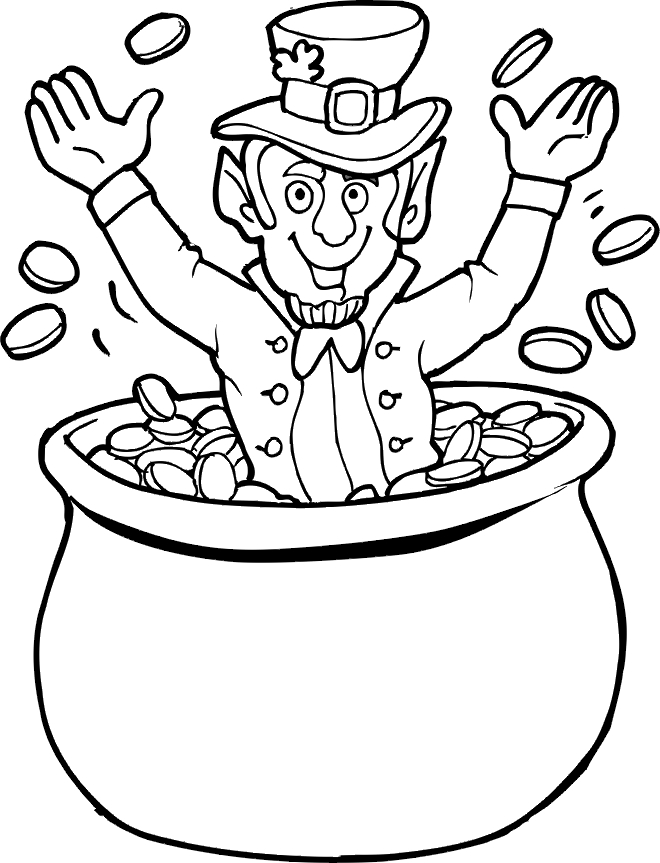 leprechaun coloring pages - leprechaun and pot of gold