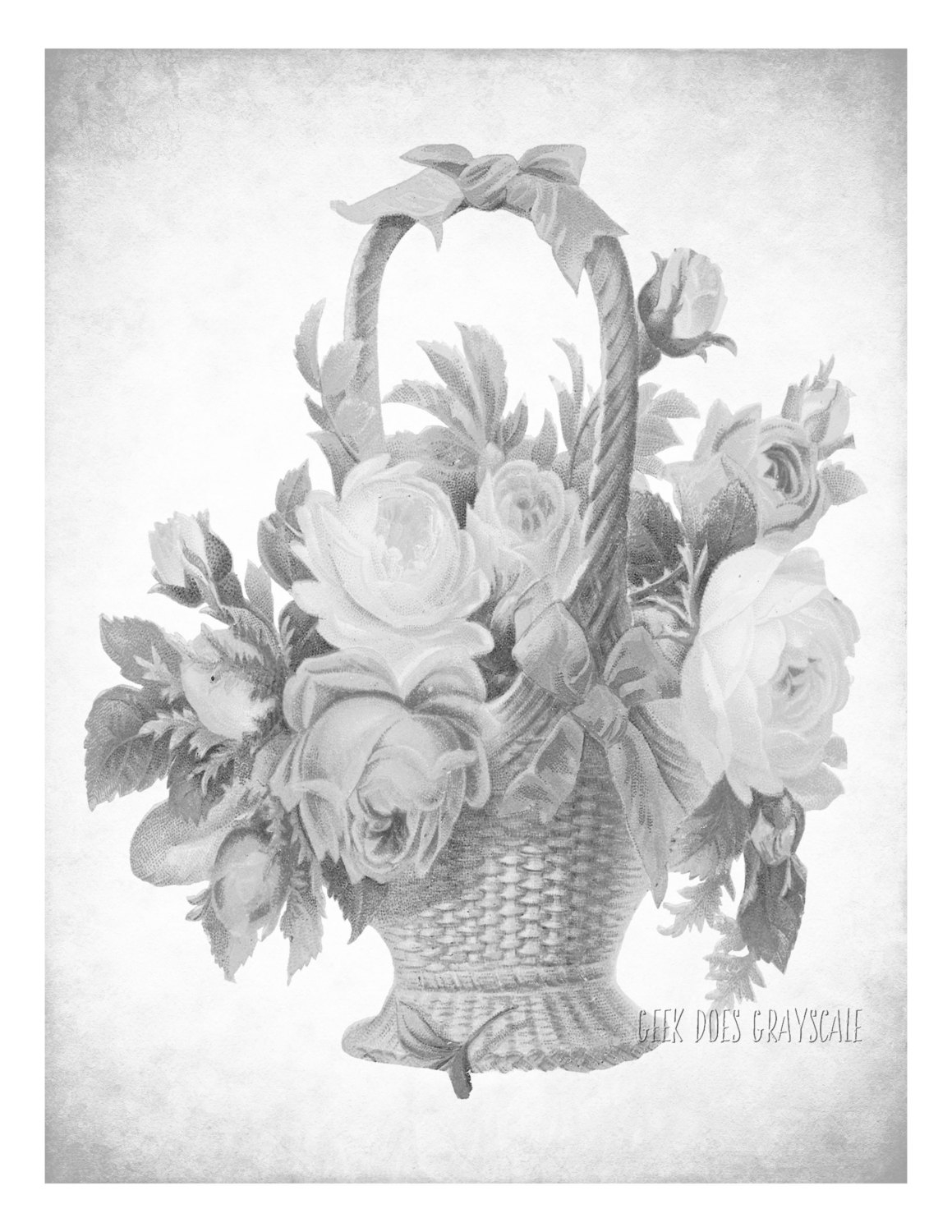 Let Your Light Shine Coloring Page - Flower Basket Grayscale Coloring Page Adult Coloring