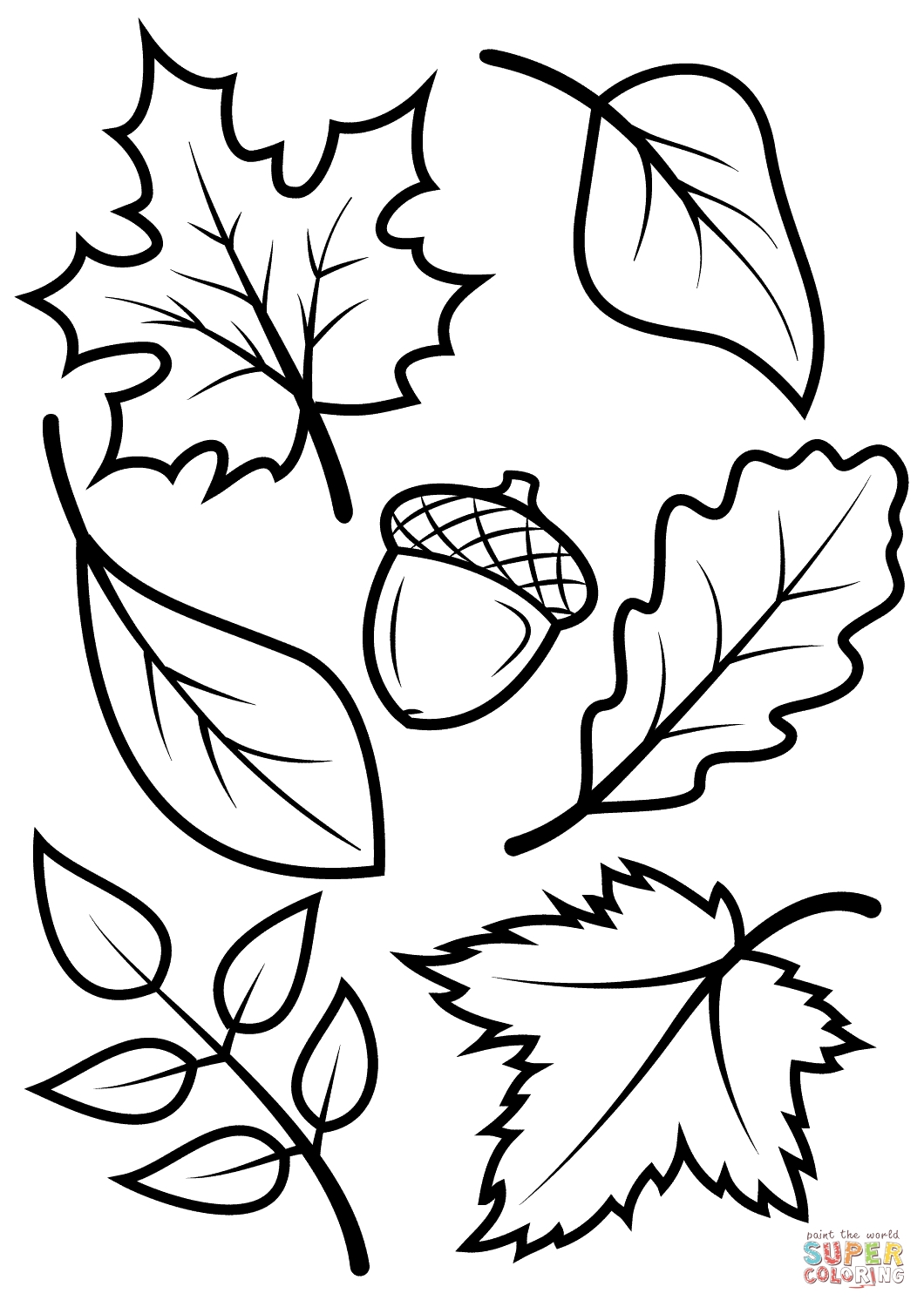 letter a coloring pages - color page of leaves fall leaves and acorn coloring page free printable coloring pages