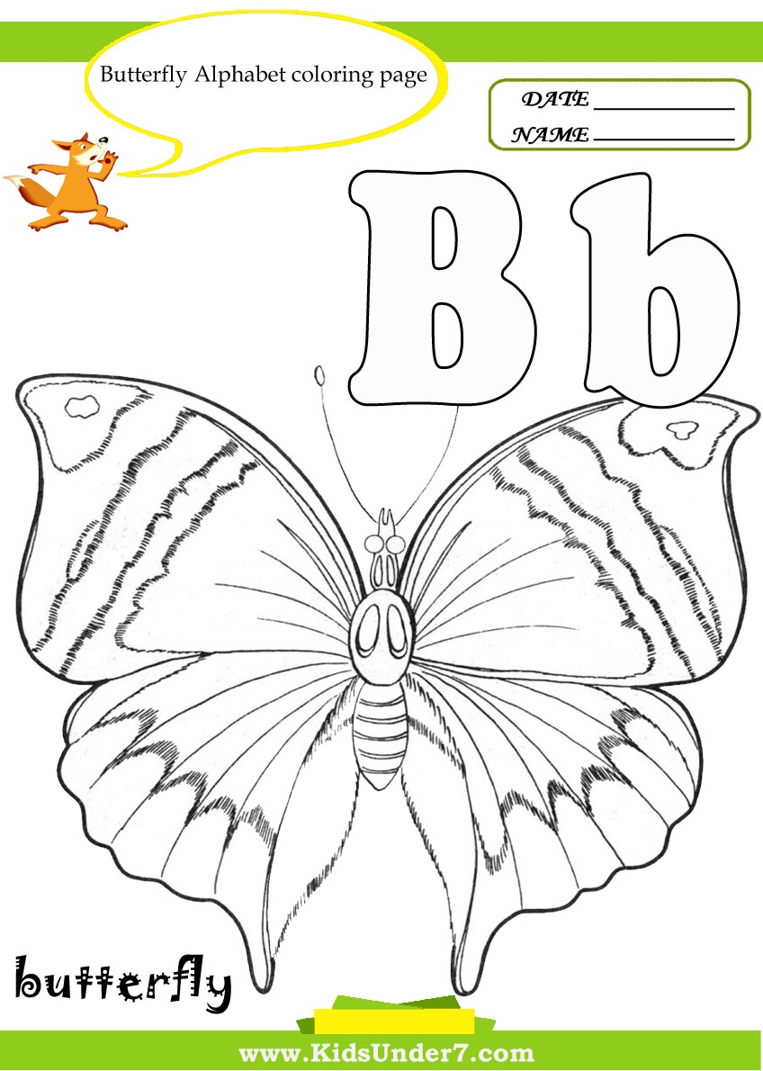 letter b coloring pages - butterfly alphabet coloring pages kids under 7 letter b worksheets and coloring pages