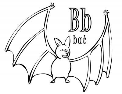 Letter B Coloring Pages - Halloween Time Abc Coloring Page for the Letter B Bat