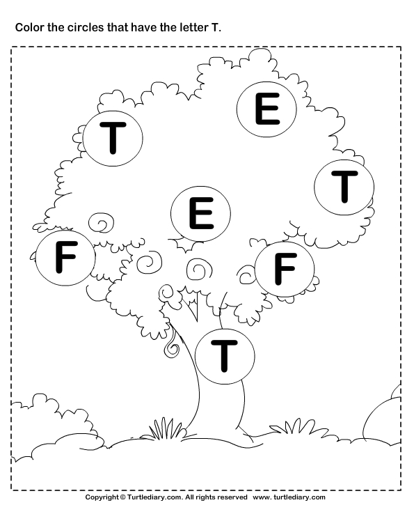letter b coloring pages - identifying letter t