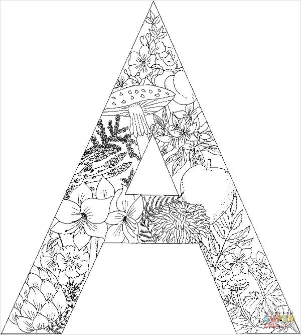letter coloring pages for adults - coloring page for adults