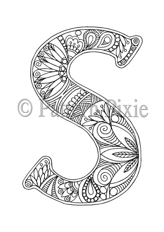 letter coloring pages for adults - adult colouring page alphabet letter s