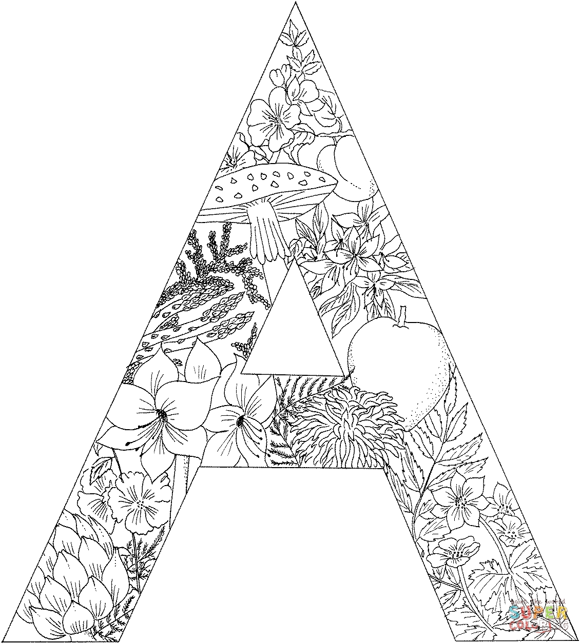 letter coloring pages for adults - letter a with plants