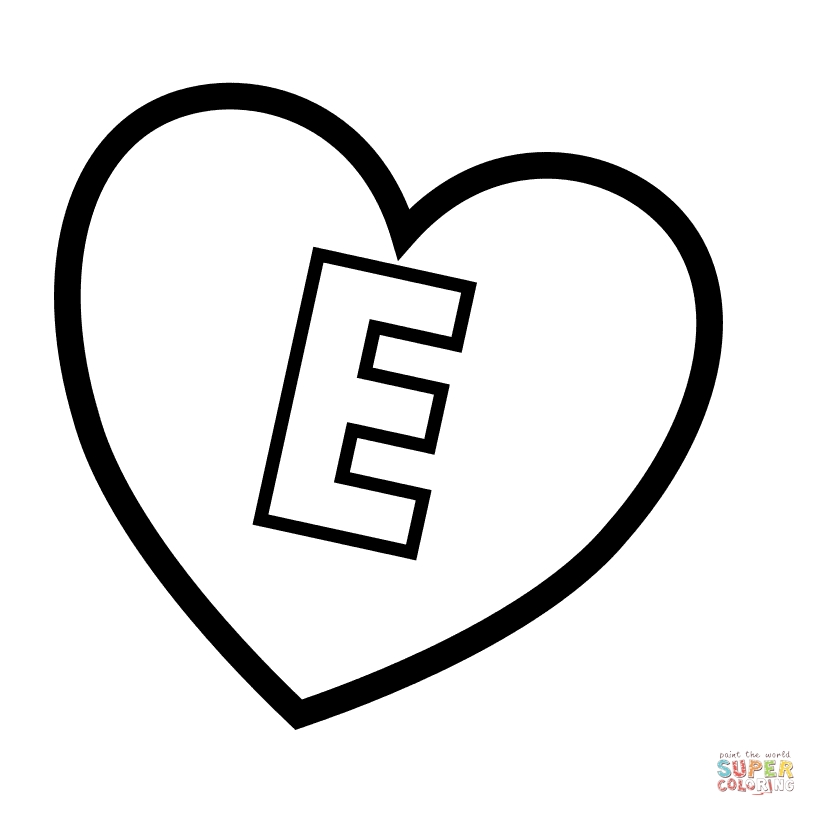 letter e coloring page - letter e in heart