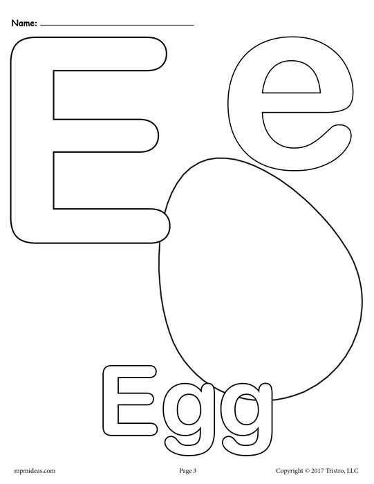 "Letter E Coloring Page - Letter ""e"" Alphabet Coloring Pages 3 Free Printable"