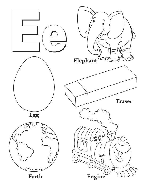 letter e coloring page -