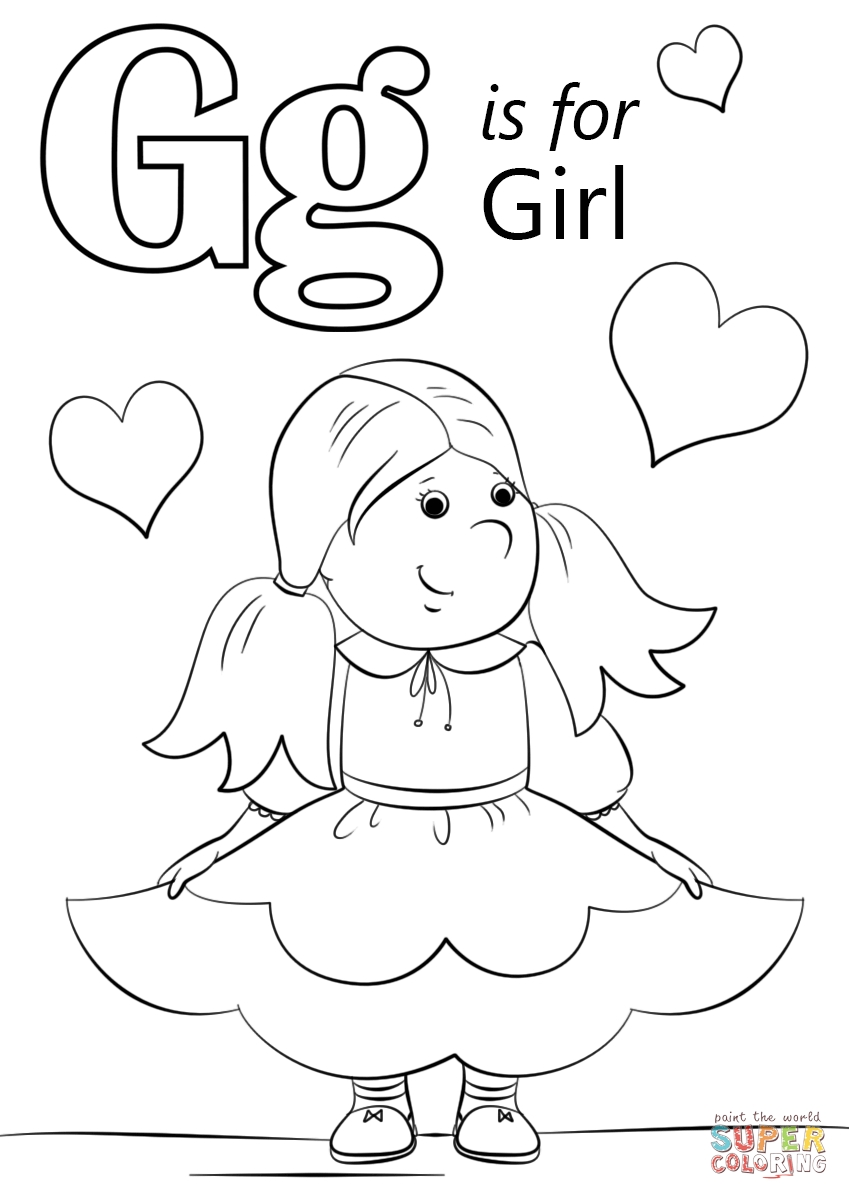 Letter G Coloring Pages - Letter G is for Girl Coloring Page