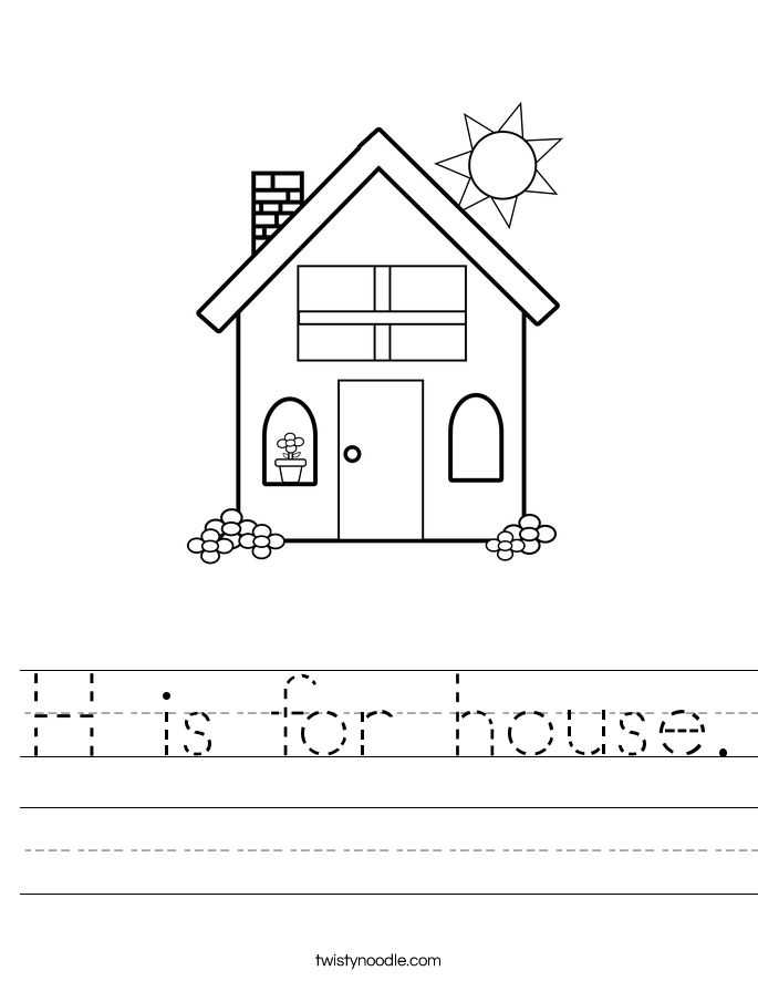 letter h coloring pages - h is for house 2 worksheet