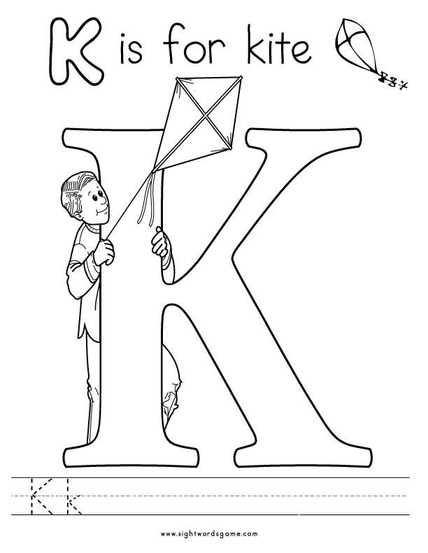 letter k coloring page - alphabet coloring pages