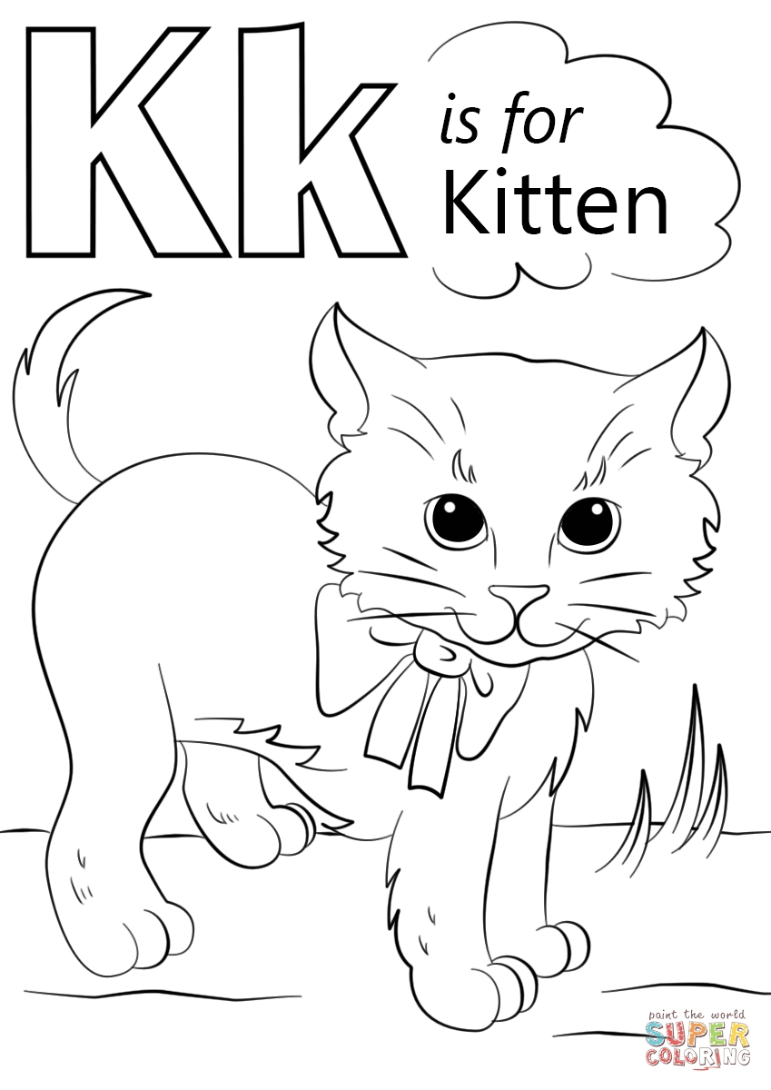 letter k coloring page - letter k is for kitten