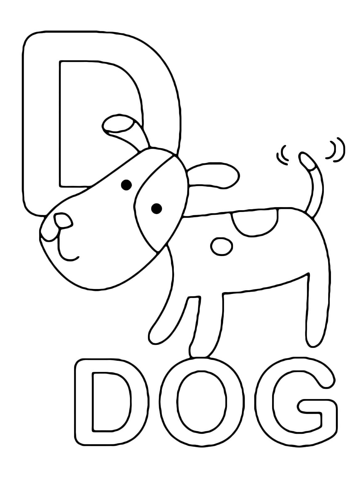 letter m coloring page - lettera d in stampatello di dog cane in inglese