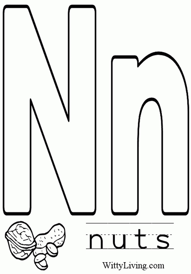 Letter N Coloring Pages Preschool Free Alphabet With