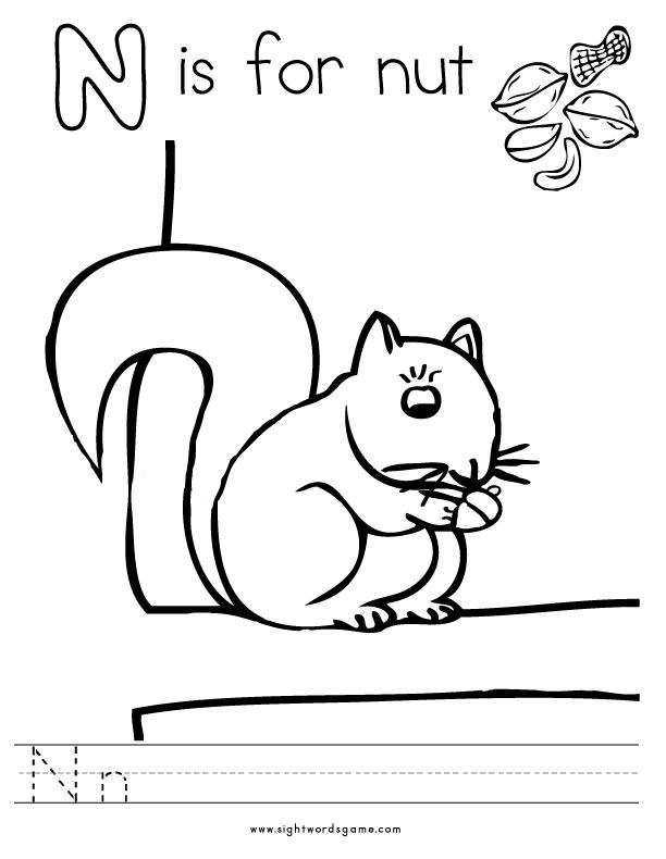 Letter N Coloring Page - Letter N Preschool Coloring Pages Coloring Home