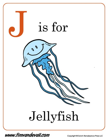 letter printable coloring pages - j is for jellyfish letter j