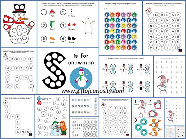 letter printable coloring pages - snowman do a dot printables