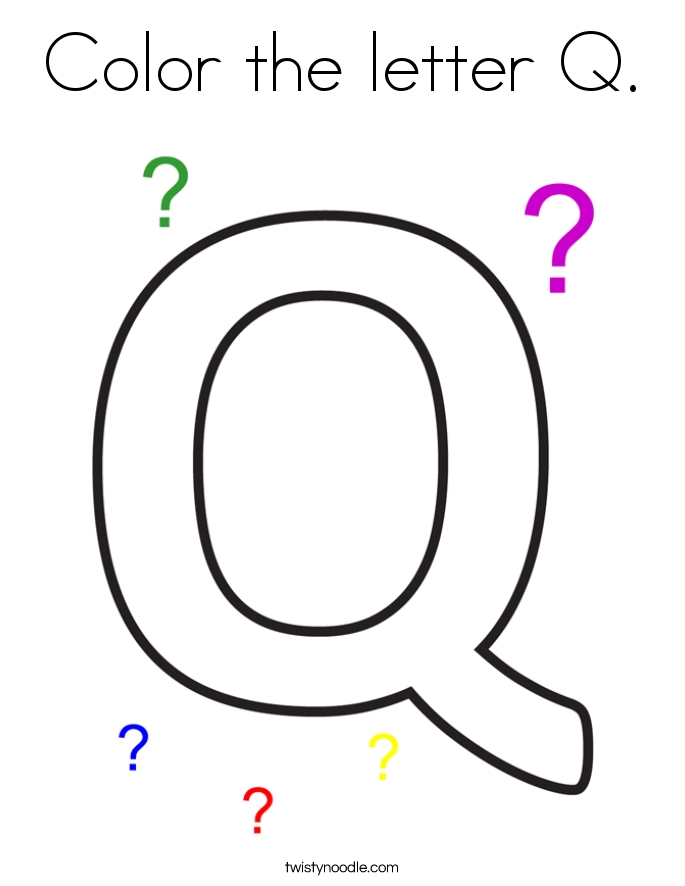 letter q coloring pages - color the letter q 3 coloring page