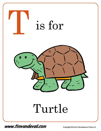 letter s coloring pages - t is for turtle letter t