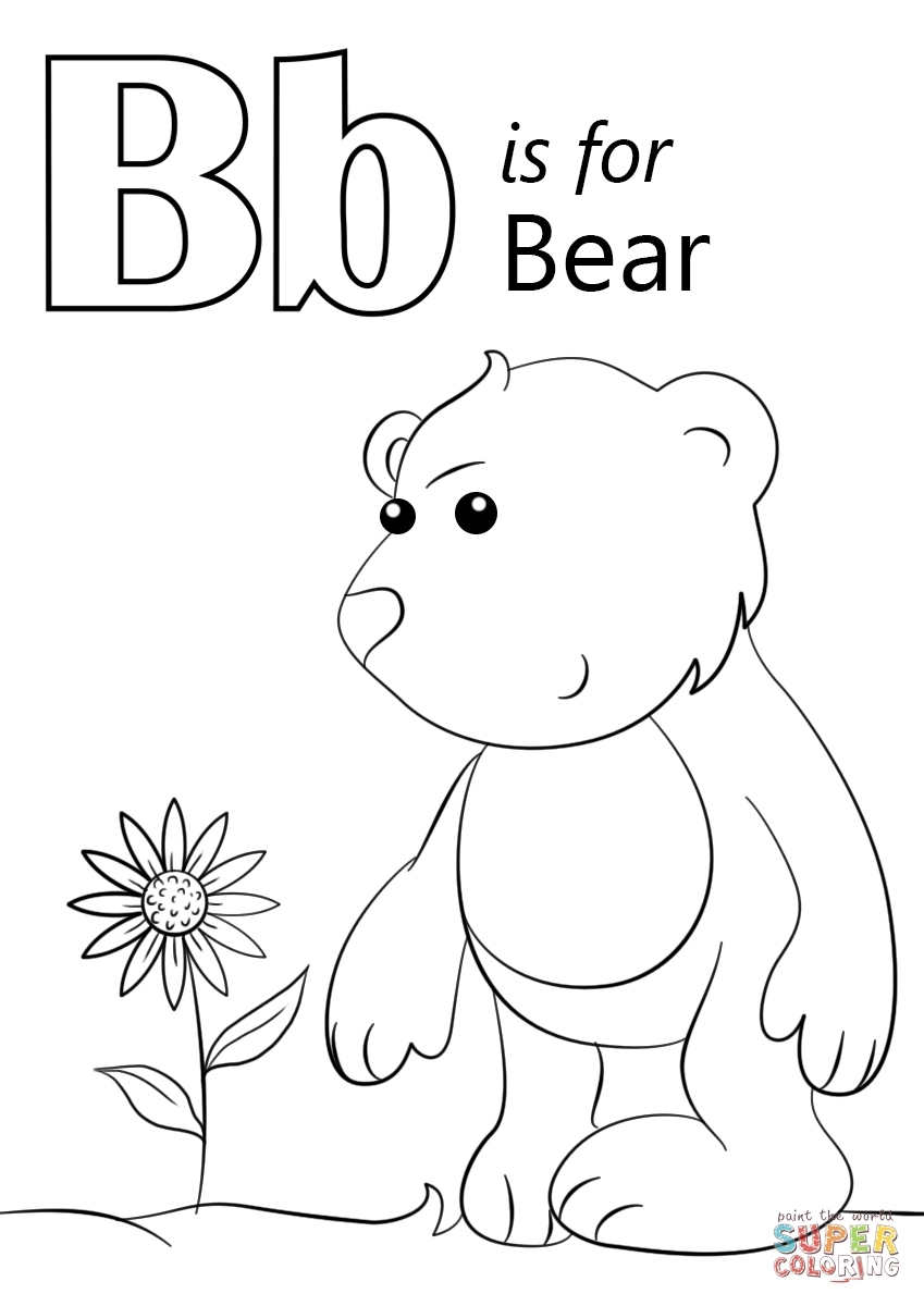letter u coloring page - letter b is for bear