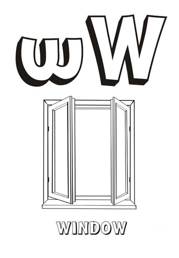 letter u coloring page - letter w for window coloring page