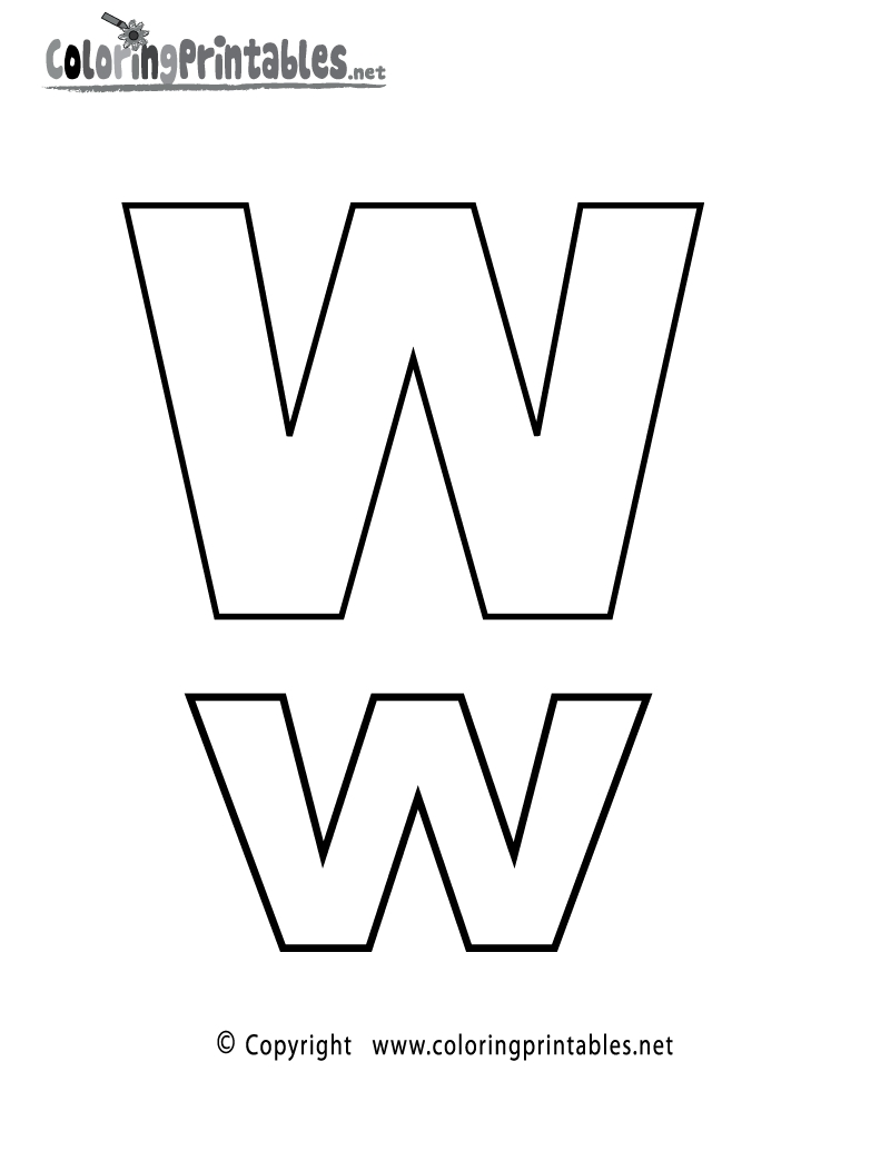 letter w coloring pages - alphabet letter w coloring page