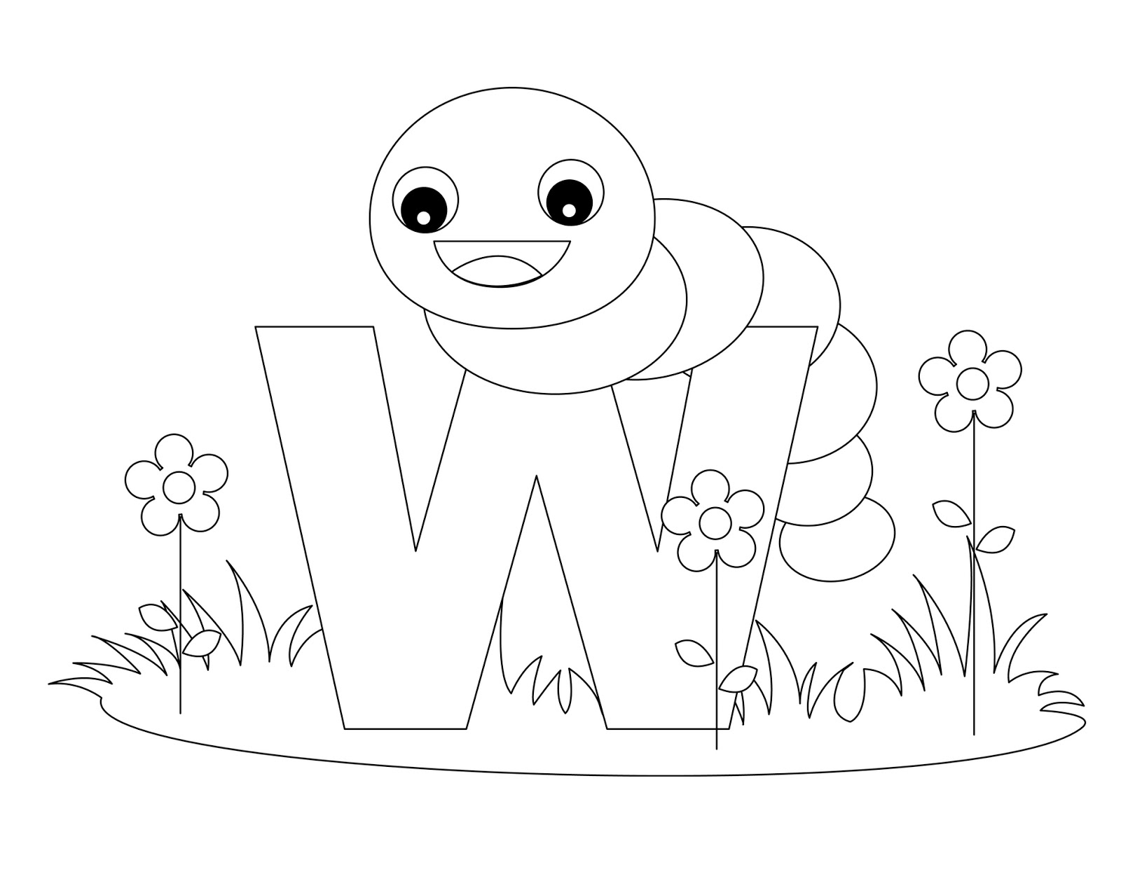 letter w coloring pages - animal alphabet coloring letter w