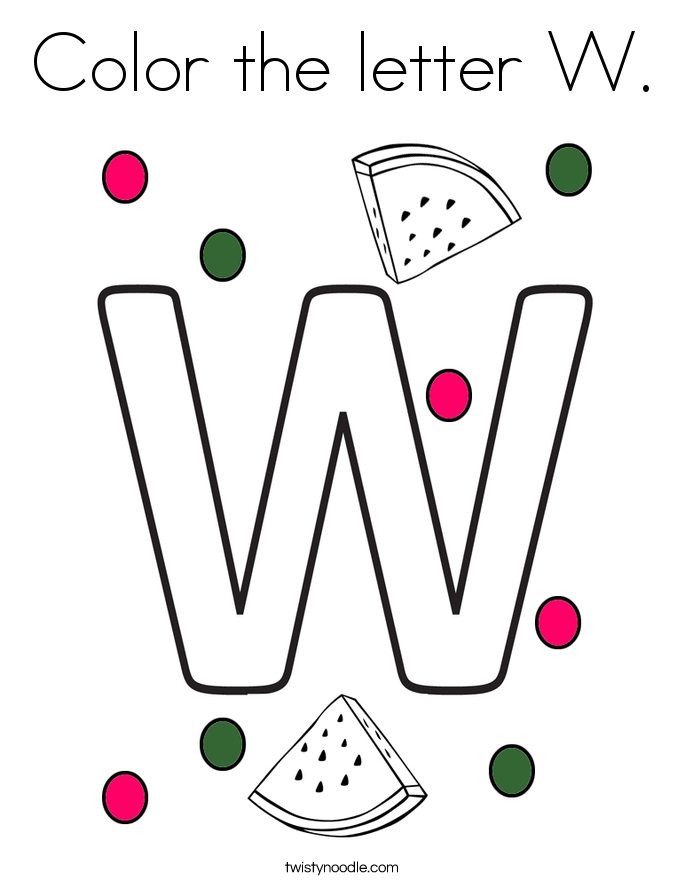 letter w coloring pages - color the letter w 2 coloring page