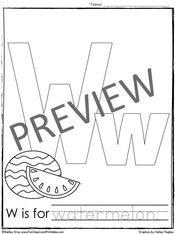Letter W Coloring Pages - Letter W Coloring Page Fun Classroom Printables