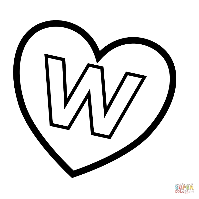 letter w coloring pages - letter w in heart
