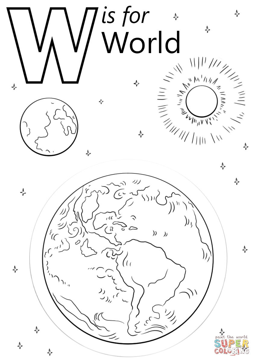 letter w coloring pages - letter w is for world